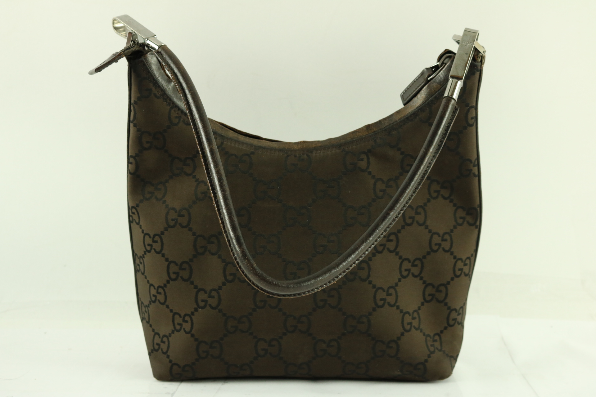 0f20a993eb8522 Details about Gucci Dark Brown Nylon GG WEB Monogram Small Hobo Handbag -  Free Ship