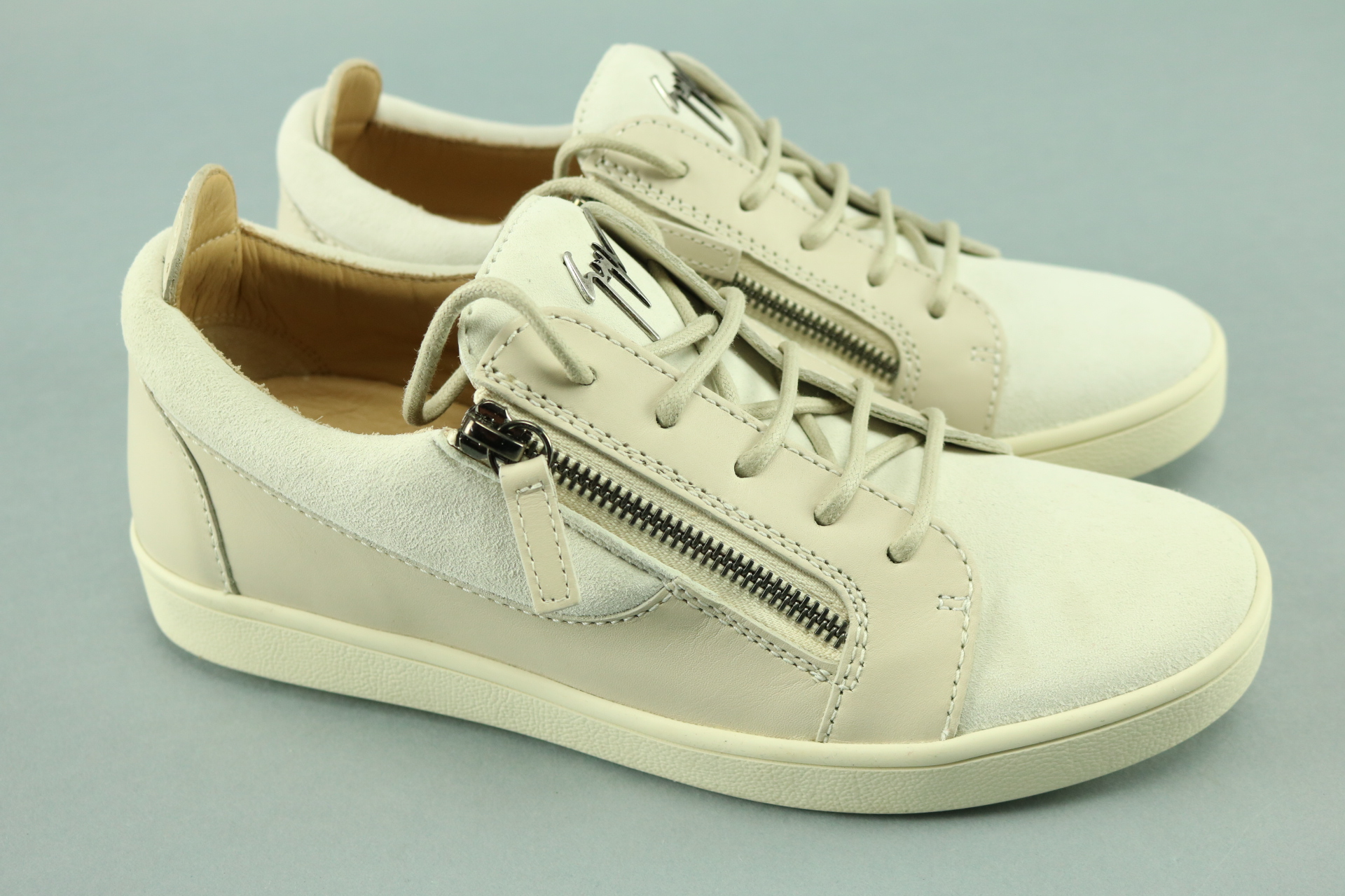 f7f9f3f4bb98 Details about Giuseppe Zanotti Men s London Double-Zip Leather Suede Low-Top  Sneaker Size 38.5